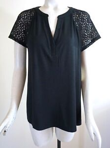 NWT $42 Soma Cool Nights Short Sleeve Popover Pajama Top, Black, Size L