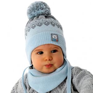 AJS Jungen Baby Winterset Set Mütze Wintermütze Bommelmütze Halstuch mit Wolle