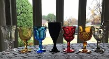Mid Century - Vintage Water/ Wine  Pedestal Goblets Set Of 7- COLORFUL -GLASS
