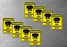 Video Surveillance warning stickers 8 pack 7 yr quality water & fade proof vinyl