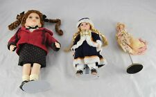 Lot of 3 Vintage Porcelain Dolls Victorian Braided Pigtails Red Blonde p2g24