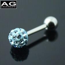 A single aqua cubic snow ball barbell earring stud piercing 18g US SELLER
