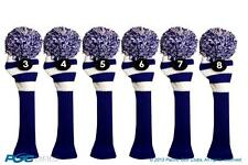 Hybrid golf club headcover 6 PC VINTAGE BLUE WHITE 3 4 5 6 7 8 KNIT Head cover