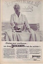 PUBLICITE ADVERTISING 034 1966 DESCAMPS L'AINE drap faites moi confiance