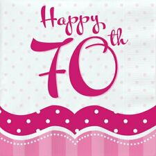18 x Perfectly Pink Happy 70th Napkins 33cm Ladies 70 Birthday Party Tableware