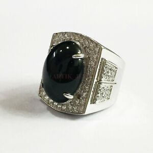 Natural Black Onyx Gemstone with 925 Sterling Silver Ring for Men's ##1161