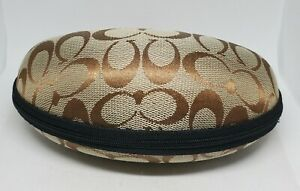 Coach Brown Logo Zipper Clam Shell Style Sunglasses Eyeglasses Case Only Case