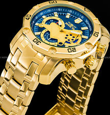 Invicta Pro Diver Scuba 3.0 Chronograph Blue Dial 18K Gold Plated SS Tachy Watch