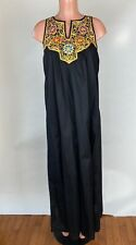 Vintage Maskit Israel Dress Black Hand Embroidered Long Sleeveless Maxi Size S