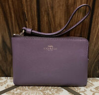 NEW! COACH CORNER ZIP WRISTLET crossgrain leather dusty lavender 58032