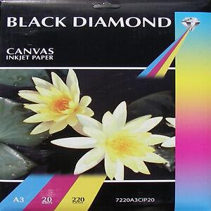 Black Diamond A3 220gsm Canvas Inkjet Photo Paper (20, 40 Sheets)