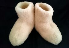 SIZE 10 - NATURAL - UNISEX MERINO WOOL BOOTS WARM COZY SLIPPERS MOCCASINS CHUNI