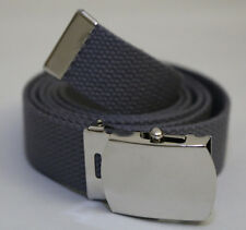 "NEW ADJUSTABLE 62"" INCH STEEL GREY CANVAS MILITARY GOLF WEB BELT CHROME BUCKLE"