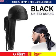 Unisex Men Women Bandana Doo Durag Headwear Soft Silk Pirate Cap Wrap Black AU