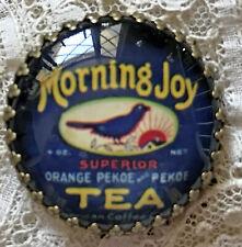 "MORNING JOY TEA Label Glass Dome BUTTON 11/4"" Vintage Advertising Art Blue Bird"