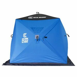 CLAM 14476 C-560 Outdoor Portable 7.5 Foot Pop Up Ice Fishing Hub Shelter Tent