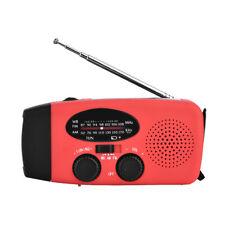 Dynamo à manivelle solaire d'urgence Radio météo LED Chargeur lampe poche Rouge