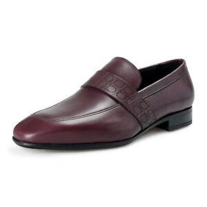 Salvatore Ferragamo Men's Goliath Leather Purple Loafers Slip On Moccasins Shoes