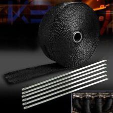 2Inch Roll Black Car Fiberglass Exhaust Header Pipe Heat Wrap Tape+6 Ties Kit