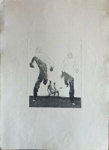 ENNIO CALABRIA acquaforte 1963 Moscacieca con gli Asini 70x50 firmata numerata