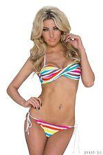 Bandeau Bikini Bademode gestreift Neckholder Bikini Beachwear Weiß Bunt 34 36