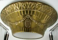 1930s Art Deco Duplexalite Chandelier Embossed Brass Outer Shade Ceiling Fixture
