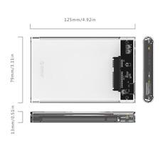 "ORICO 2139U3 USB 3.0 Transparent 2.5"" SATA SSD HDD Hard Drive Enclosure Case"