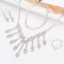 Elegant Silver Rhinestones Necklace, Bracelet, Earrings, Ring Party Jewelry Set