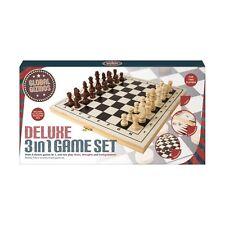 Global Gizmos Deluxe 3 en 1 Juego De Ajedrez Damas Backgammon De Madera Juegos