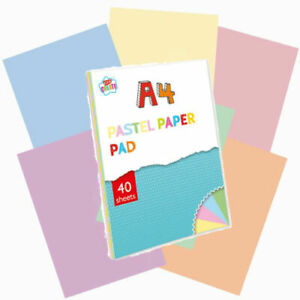 A4 Pastel Paper Pad - 40 Sheets Craft Coloured 8gsm Bay Pink Green Yellow Blue