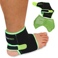 Inerzen Ankle Support Hot and Cold Gel Therapy Wrap - Reusable Gel Pack Included