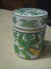 Gold Imari Hand Painted Green & Gold Peacock Bird Round Covered Cigarette Jar