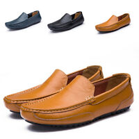 Slip On Sneakers Mens Casual Shoes Driving Moccasins Boat Shoes Leather Loafers