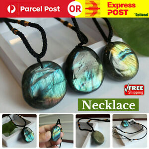 Labradorite Pendant Necklace Healing Moonstone Handmade Chains For Reiki Gift