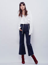 New Free People Blue Womens 60s High Rise Flare Stormy Size 27 $128