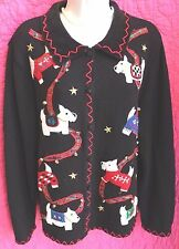 SEGUE Black Cardigan Sweater Sz L Ugly Christmas Charming Scottie Dogs Bells