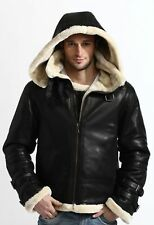 B3 Bomber Full Fur Removable Hood Genuine Sheepskin Shearling Leather Jacket