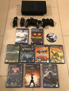 PS 2 Playstation 2 Konsole Komplettset 10 Spiele 2 Controller usw SCPH-39004 PS2