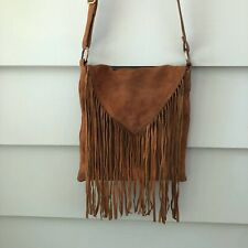 Earthbound Trading Co Cross Body Womens BoHo Fringed Shoulder Bag Purse Brown