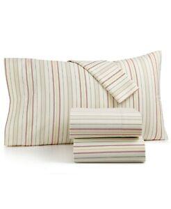 Martha Stewart Collection 100% Cotton Multi-Stripe 3-Pc. Flannel Twin Sheet Set