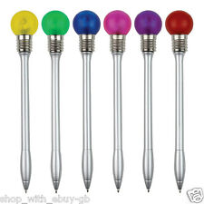 12 x Rainbow Set of Disco Pens - flashing light bulb - novelty pack of pens