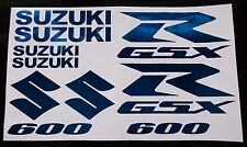BLUE CHROME GSXR 600 10 PIECE  DECAL SET, suzuki gixxer fairing tank s tail