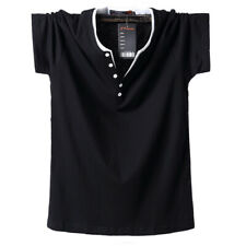 Mens Henley T-shirts Short Sleeve Cotton Shirt Pullover Casual Classic Solid Tee