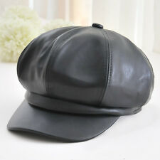 New Women's Leather Peaked Flat Captain Caps Men's Gatsby Newsboy Driving Hat