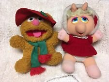 "1987 Baby Fozzie Bear & Baby Miss Piggy Muppets~ Plush Stuffed Animals 9"" Vtg"