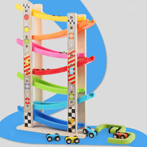 Wooden Race Track Ramp & 8 Mini Cars Vehicle Playset - Baby Educational Toy