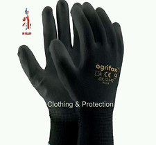 24 Pairs Nylon Black Work Gloves PU Coated Builders Mechanic Construction Grip M-8 12