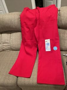 New Scrubstar Women's Solid Drawstring Scrub Pant  Red Size XL