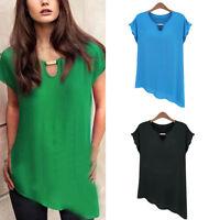 Beautiful Female Casual Chiffon Loose Short Sleeve Vest T Shirt Tops Blouse Best