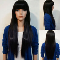 New Women Long Brazilian Black Straight Remy Wig Hair Bangs Full Wigs